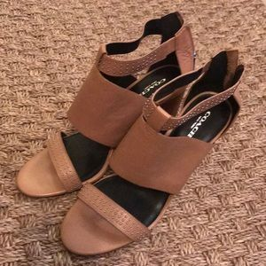 Coach leather wedge sandals